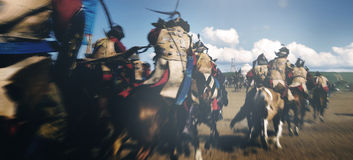 Crowd Fully Armored Soldiers Reenacting Historical Concept Royalty Free Stock Image