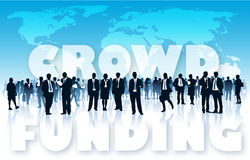 Crowd funding. Crowd of businesspeople in front of large world map and large words - CROWD FUNDING Royalty Free Stock Images