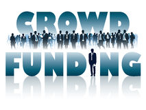 Crowd funding. Crowd of businesspeople and large words - CROWD FUNDING Royalty Free Stock Photo