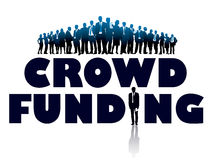 Crowd funding. Crowd of businesspeople and large words - CROWD FUNDING Royalty Free Stock Images