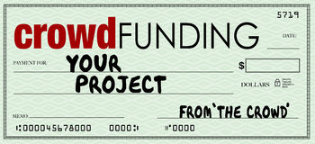 Crowd Funding Check Blank Amount Investing in Your Project Royalty Free Stock Photos