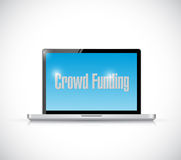 Crowd funding computer sign illustration Stock Image