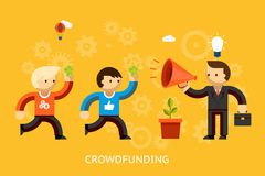 Crowd funding concept. With a businessman with a bright idea advertising over a megaphone and people with money running to invest   vector illustration Stock Photography