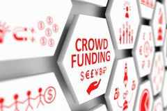 CROWD FUNDING concept. Cell blurred background 3d illustration Royalty Free Stock Photos