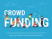 Crowd funding concept illustration. Crowd funding illustration of young various people using laptop, tablet pc and smartphone for online funding new startup or Stock Images