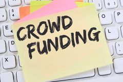 Crowd funding crowdfunding collecting money online investment in royalty free stock photos