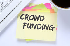 Crowd funding crowdfunding collecting money online investment in Royalty Free Stock Images