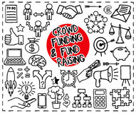 Crowd funding doodle set Royalty Free Stock Photography