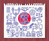 Crowd funding doodle set Stock Images