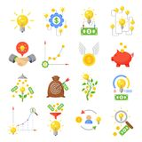 Crowd funding icon set. Funding a project, individuals giving small donation on crowdfunding platform. Vector flat style cartoon illustration isolated on white Stock Photo