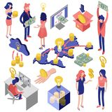 Crowd Funding Isometric Set. Crowd funding isometric icons set with creative idea, contribution, international investment, collect of money isolated vector Stock Photography