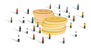 Crowd-funding money financial donation crowd group of small people together business cooperation looking for big cash Royalty Free Stock Photography