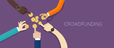 Crowd funding money. Vector illustration collaboration Royalty Free Stock Photography