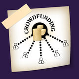 Crowd funding. Slip of paper with theme of crowd funding Stock Photo