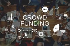 Crowd Funding Supporters Investment Fundraising Contribution Con royalty free stock image