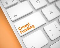 Crowd Funding - Text on White Keyboard Button. 3D. Royalty Free Stock Photography