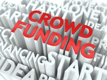Crowd Funding. Wordcloud Concept. Crowd Funding - Word in Red Color, Surrounded by a Cloud of Words Gray. Wordcloud Concept Royalty Free Stock Images