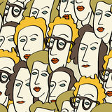 Crowd of funny peoples royalty free illustration