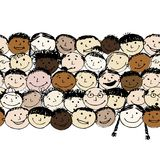 Crowd of funny peoples, seamless background for Stock Images