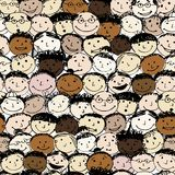 Crowd of funny peoples, seamless background for Royalty Free Stock Images