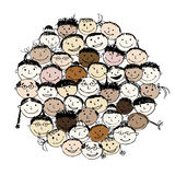 Crowd of funny peoples, sketch for your design vector illustration