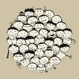 Crowd of funny peoples, sketch for your design Stock Photo