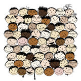 Crowd of funny peoples for your design Royalty Free Stock Photo