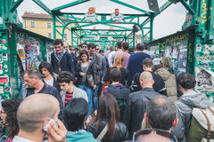 Crowd at Fuorisalone during Milan Design Week 2015 Stock Photography