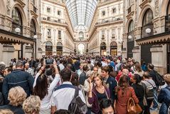 Crowd in the 'Galleria Vittorio Emanuele' in Milan (Italy) Stock Photo