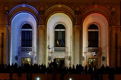 Crowd gathered at the event. Crowd gathered to watch the event. The king Mihai I of Romania celebrated for his 90th anniversary at the Opera in Bucharest. The Royalty Free Stock Photos