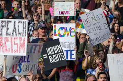 Crowd Gathered at Trump Protest. Crowd gathered at a protest in Salt Lake City, UT against Donald Trump on November 26, 2016 on the steps of the city`s capitol Royalty Free Stock Photography