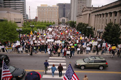 Crowd gathers. The crowd that gathered at legislative plaza for the tax day tea party rally Royalty Free Stock Image