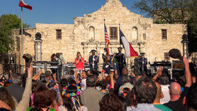 Crowd Gathers for Annual Fiesta San Antonio Celebration in Front Royalty Free Stock Photo