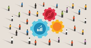 Crowd and gears machine cogs working together team work collaboration  Royalty Free Stock Image