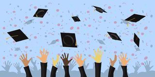 A crowd of graduates throws academic cups into the sky Vector flat illustration vector illustration
