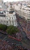 Crowd on Gran Via Stock Photo