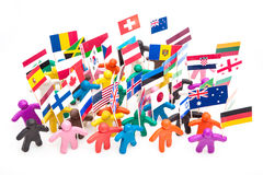 Crowd group of colourful plasticine humans with Royalty Free Stock Images
