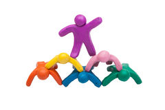 Crowd group of colourful plasticine humans Stock Photo