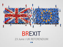 Crowd or group of people in form of British and Europe flags. United Kingdom European Union. Brexit. vector illustration