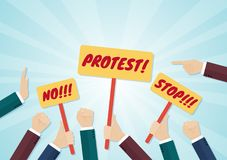 Crowd of hands holding protest signs and fists Royalty Free Stock Image