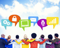 Crowd With Hands On Their Shoulders And Speech Bubbles Containg Royalty Free Stock Photo
