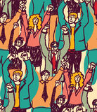 Crowd happy business people seamless pattern. Big group togetherness smiling wider audience. Color vector illustration Stock Photo
