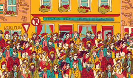 Crowd happy people on the street royalty free illustration