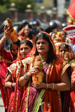 Crowd of Hindu people celebrating the Dasain festival Stock Images