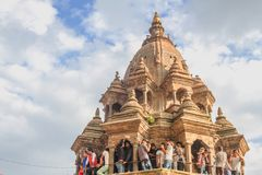Crowd of Hindu People at Krishna Temple, Patan Durbar Square,Kat stock image