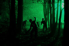 Crowd of hungry zombies in the woods Royalty Free Stock Photo