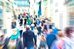 Crowd. Hurrying crowd of people on the street. Abstract motion picture Stock Photography