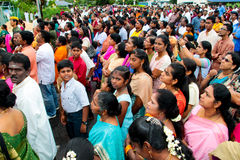Crowd at indian temple opening ceremony Stock Image