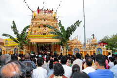 Crowd at indian temple opening ceremony. SERDANG, MALAYSIA - 10 SEPT 2010 : Thousands indian devotees gather at the Sri Maha Kaliamman temple opening ceremony to Royalty Free Stock Photo