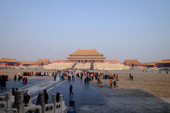 Crowd inside the Forbidden City Beijing China. Forbidden city Beijing China. Travel in winter 2015 Royalty Free Stock Photos
